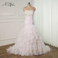 ADLN Elegant Plus Size Mermaid Wedding Dress Pearls Beading Sweetheart Sleeveless Ruffled Organza Bridal Wedding Dresses