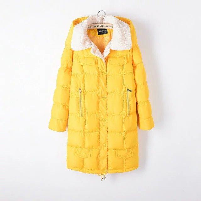 5XL2016 chaqueta de invierno abrigos de color amarillo de Las Mujeres gruesa caliente Casual Mujeres Parka de algodón Con Capucha Parka abajo y abrigos esquimales Capa Femenina más Tamaño