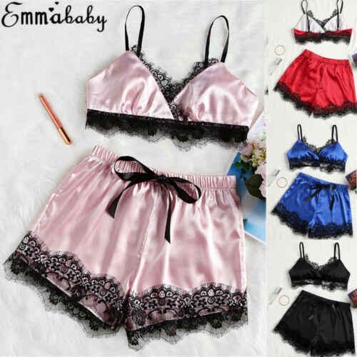 Женская одежда для сна топ и шорты пижамный комплект Женская шелковая атласная пижама ночная одежда Домашняя одежда сексуальный костюм