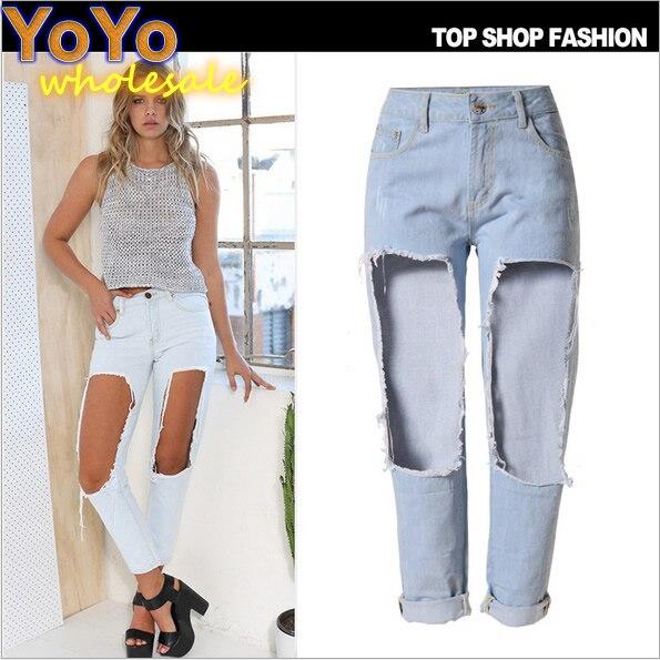 Big Ripped Jeans for Women 2016 Fashion Boyfriend Jeans Nine ...