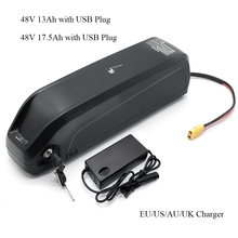 Hailong Li oin Battery with USB 48V13Ah 48V 17AH Electric Bike Downtube Battery with charger for 250W 500W 750W 800W 1000W Motor
