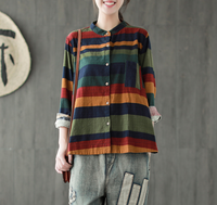 Autumn Shirt Women Retro Fashion Blouse Tops Stand Cardigan Button Striped Casual Blended Female Loose Shirt 2018 Shirt Blouse