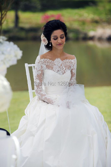 42b70b96dd1 2014 Lace Wedding Dresses Sexy Off Shoulder Long Sleeve Lace Tulle Satin  Button Covered Back Ball Gown Bridal Gowns
