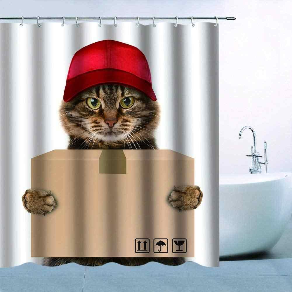 動物猫パターンテーマシャワーカーテン猫赤キャップ保持ボックス Express 防水カビ抵抗性