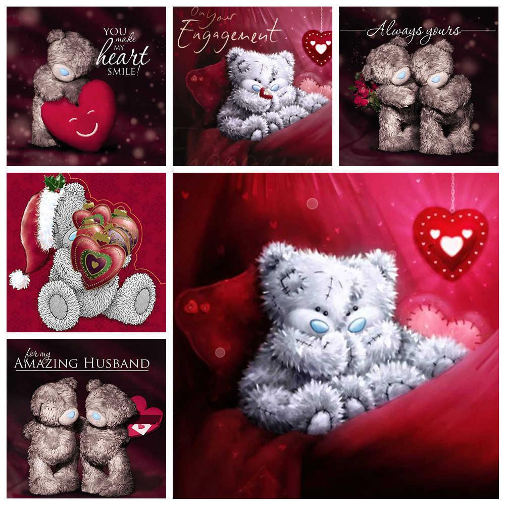 New FAI DA TE 5d Pittura Diamante Completamente Accessori Quadrato/Rotondo decorazione di Cerimonia Nuziale regali Mosaico Teddy bear Adesivi Ricamo