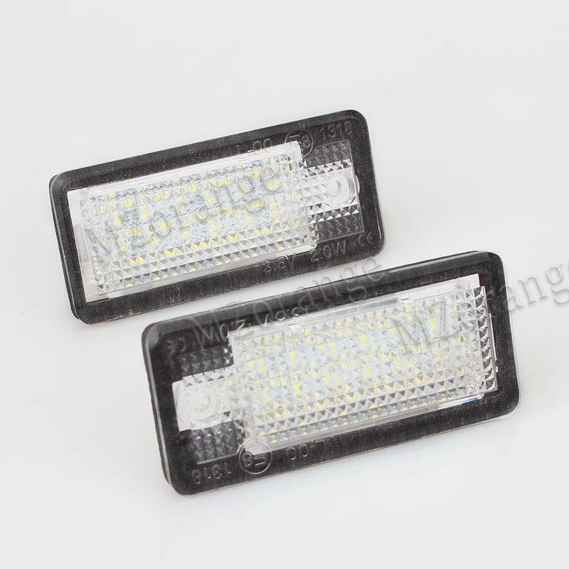 Car-styling 2Pcs LED Number License Plate Lights 12V For Audi A4 b6 8E A3 S3 A6 c6 Q7 A4 b7 A8 S8 S6 RS4 RS6 <font><b>accessories</b></font>