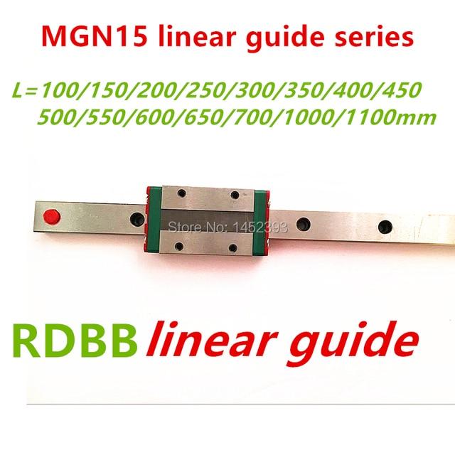 15mm de guía lineal MGN15 100, 150, 200, 250, 300, 350, 400, 450, 500, 550, 600, 700 mm lineal riel + MGN15H o MGN15C de 3d impresora CNC