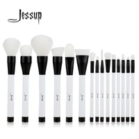 Jessup 15pcs Black White Makeup Brushes Set Powder Foundation Eyeshadow Eyeliner Lip Contour Concealer Smudge Brush