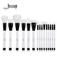 Jessup 15pcs Black White Makeup Brushes Set Powder Foundation Eyeshadow Eyeliner Lip Contour Concealer Smudge Brush