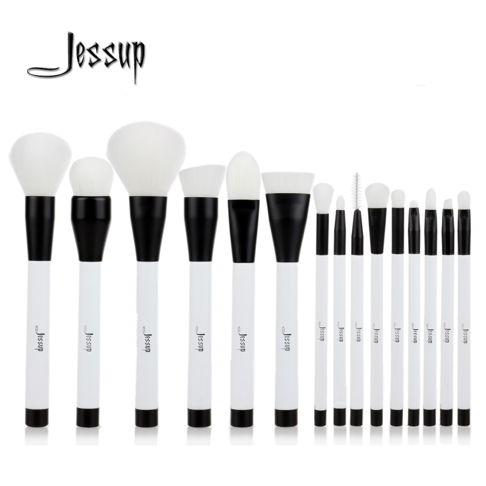 Jessup 15pcs Black/White Makeup Brushes Set Powder Foundation Eyeshadow Eyeliner Lip Contour Concealer Smudge Make up Brush Tool 15pcs cosmetic makeup brush women foundation eyeshadow eyeliner lip make up eye brushes set