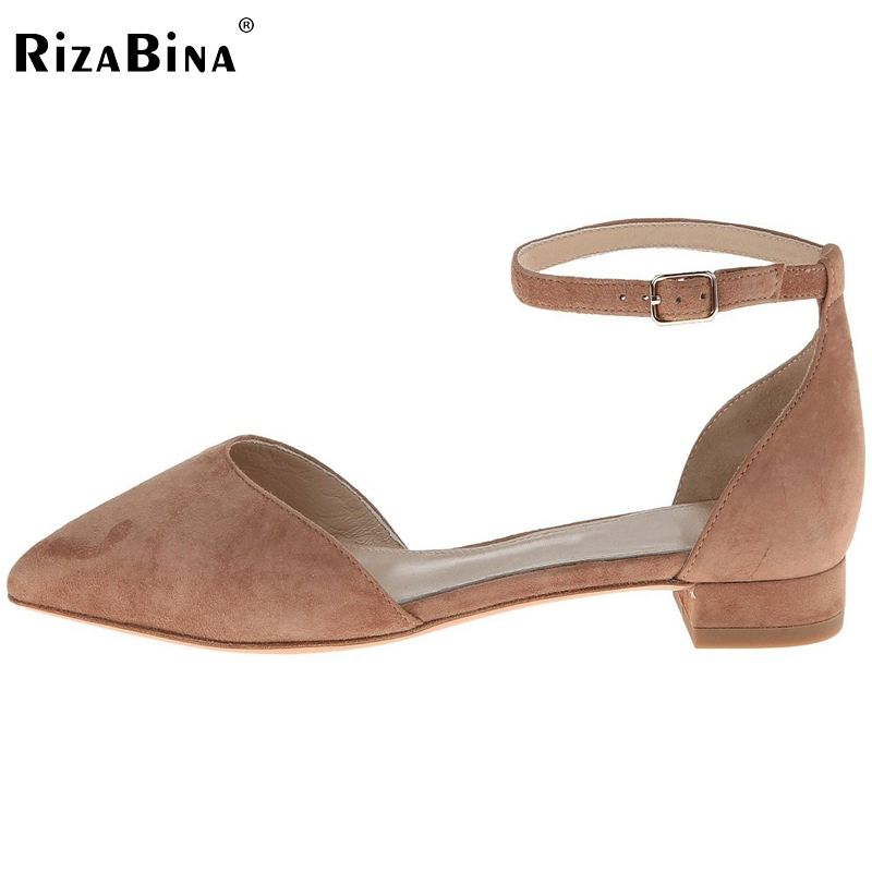 RizaBina Women Flats Sandals Pointed Toe Casual Shoes Woman flat Sexy T-Strap Shoes Ladies Brand Beach Footwear Size 35-46 B206 lankarin brand 2017 summer woman pointed toe flats ladies platform fashion rivet buckle strap flat shoes woman plus size