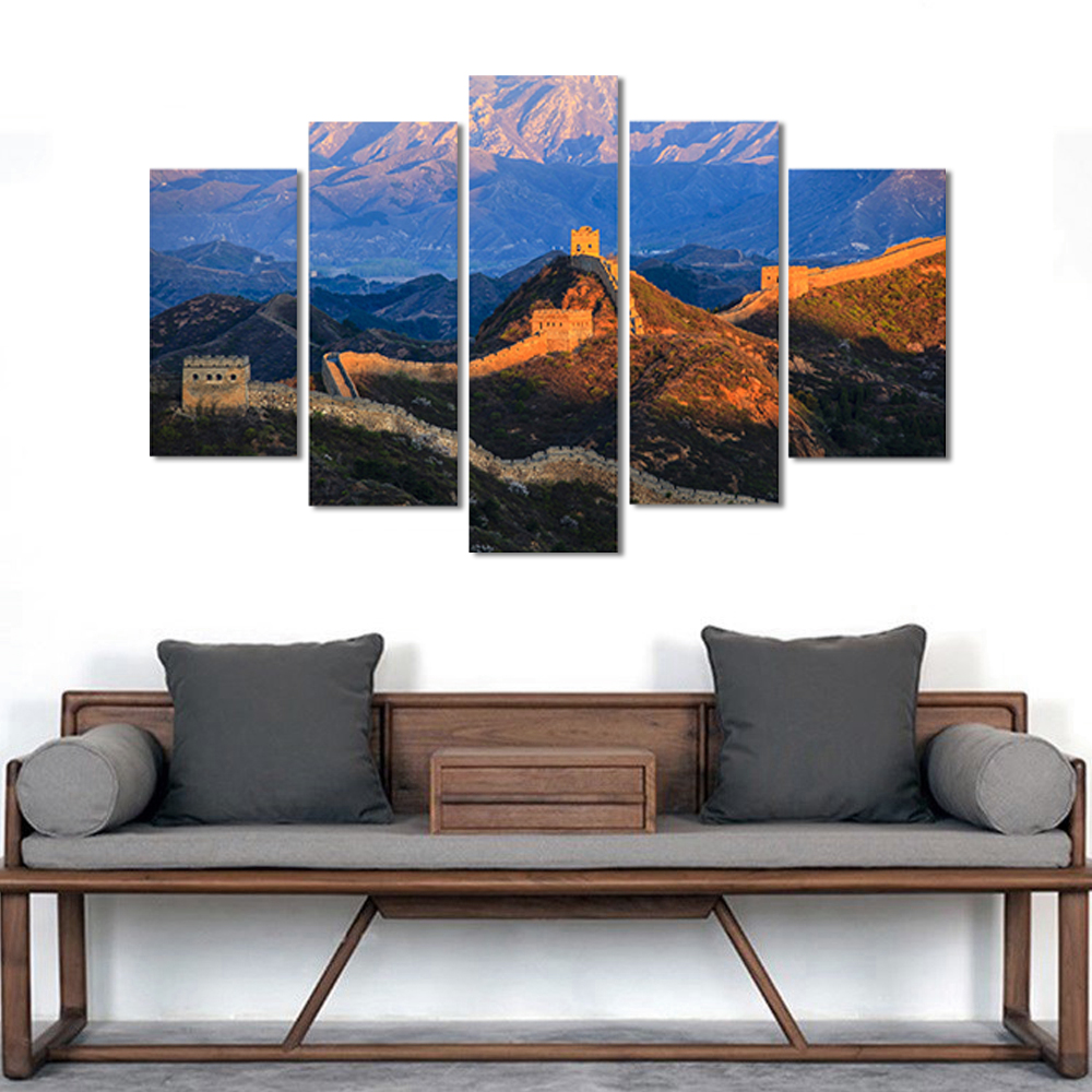 Unframed HD Canvas Painting China Great Wall Meadow Mountains Picture Prints Wall Picture For Living Room Wall Art Decoration