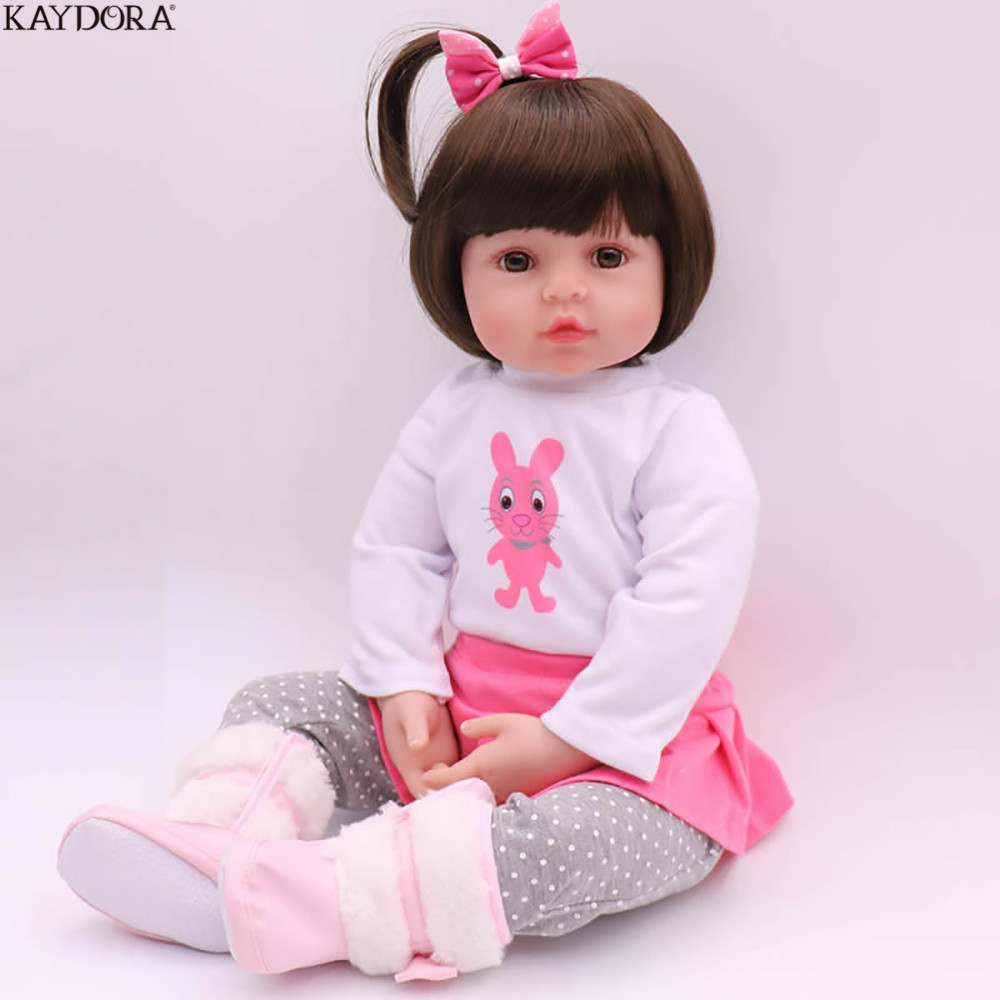 KAYDORA Doll Boneca Reborn Doll Soft 22 Inch 46cm Silicone Reborn Baby Adorable Lifelike Toddler Girl Toys for Kids Cute Doll