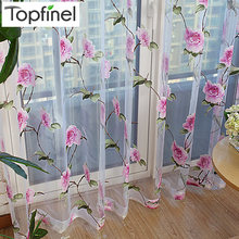 Topfinel Modern Floral Tulle Window Treatments Sheer Curtains for Living Room the Bedroom Kitchen Panel Drapes and Blinds(China)
