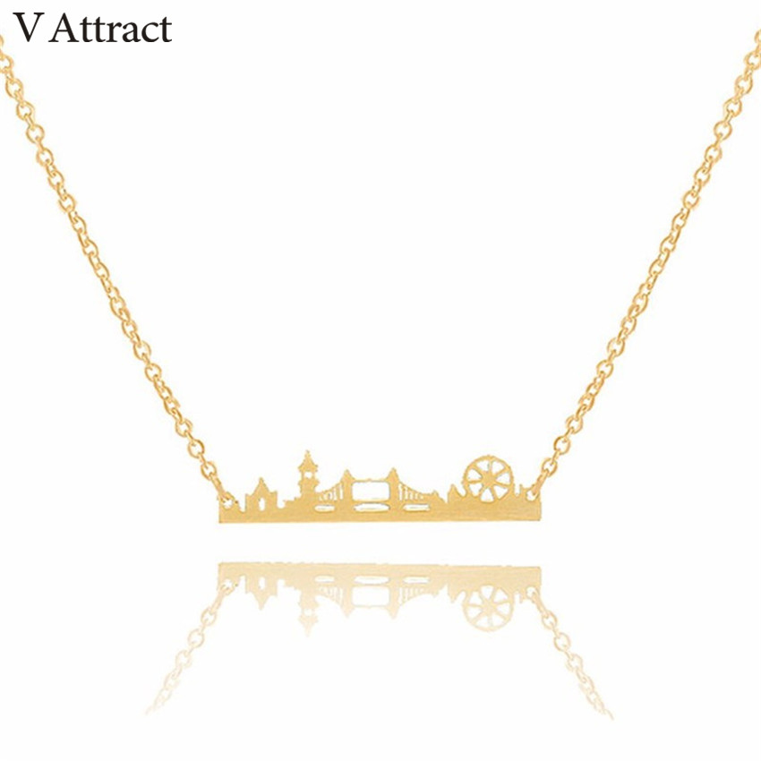 V Attract Vintage London Skyline Necklace Women Stainless Steel Layer Choker Sherlock Jewelry Rose Gold Maxi
