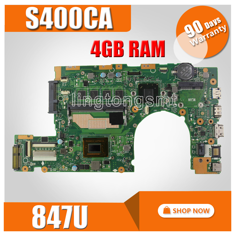 S400CA motherboard 847U 4GB RAM For asus S400 S400CA S500CA Laptop Motherboard S400CA Mainboard S400CA motherboard