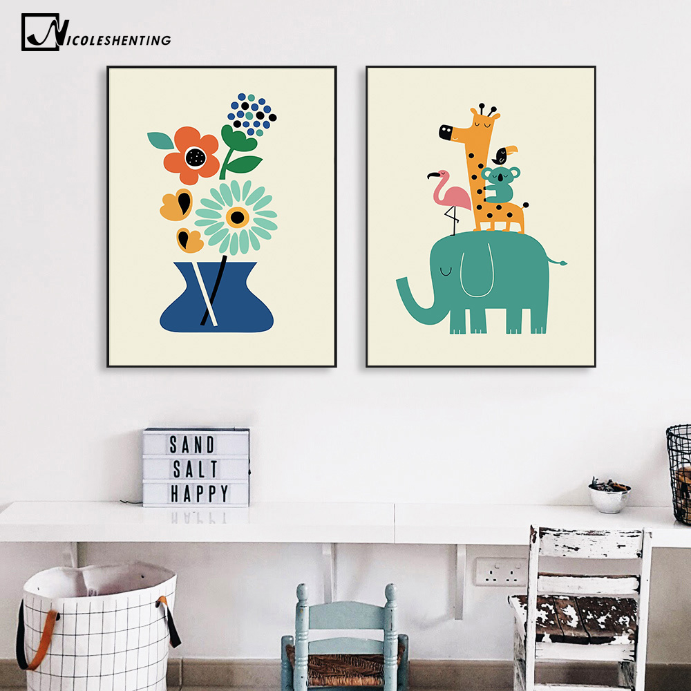 Nordic Art Cartoon Animal Poster Elefant Giraff Tiger Minimalistisk Canvas Painting Nursery Picture Barnrumsdekoration 340