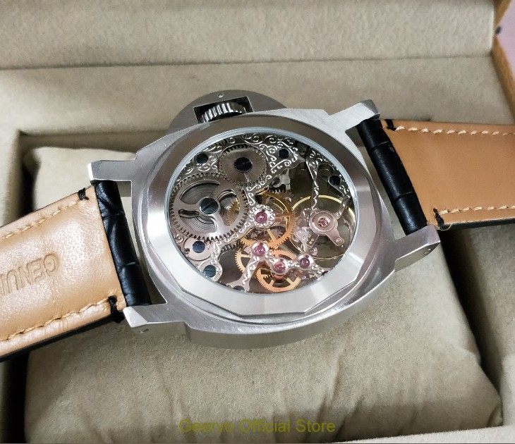 44mm GEERVO Asian silvery  17 jewels Mechanical Hand Wind movement men's watch Hollowed-out Mechanical watches 0160A