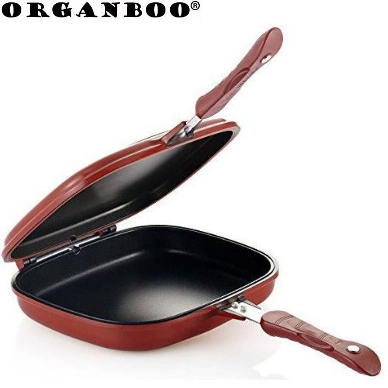 1 PC Double face gril poêle forme carrée antiadhésive poêle cuisson steak poêle 28 cm cuisine cuisson outil