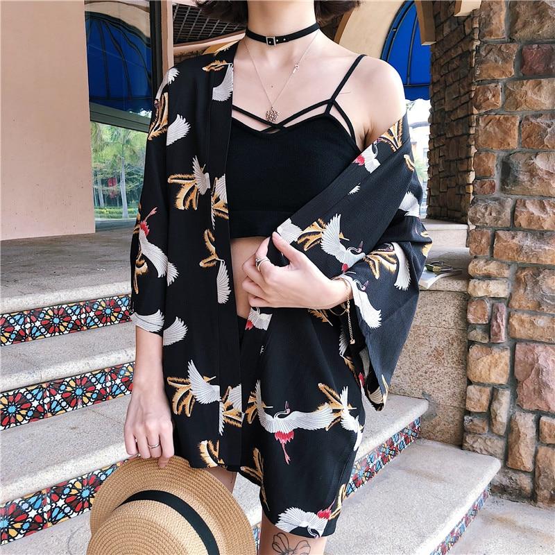 2019 New Harajuku Japanese Kimono Print Summer Cosplay Yukata Sunscreen Fashion Thin Loose Blouse Women Tops in Blouses amp Shirts from Women 39 s Clothing