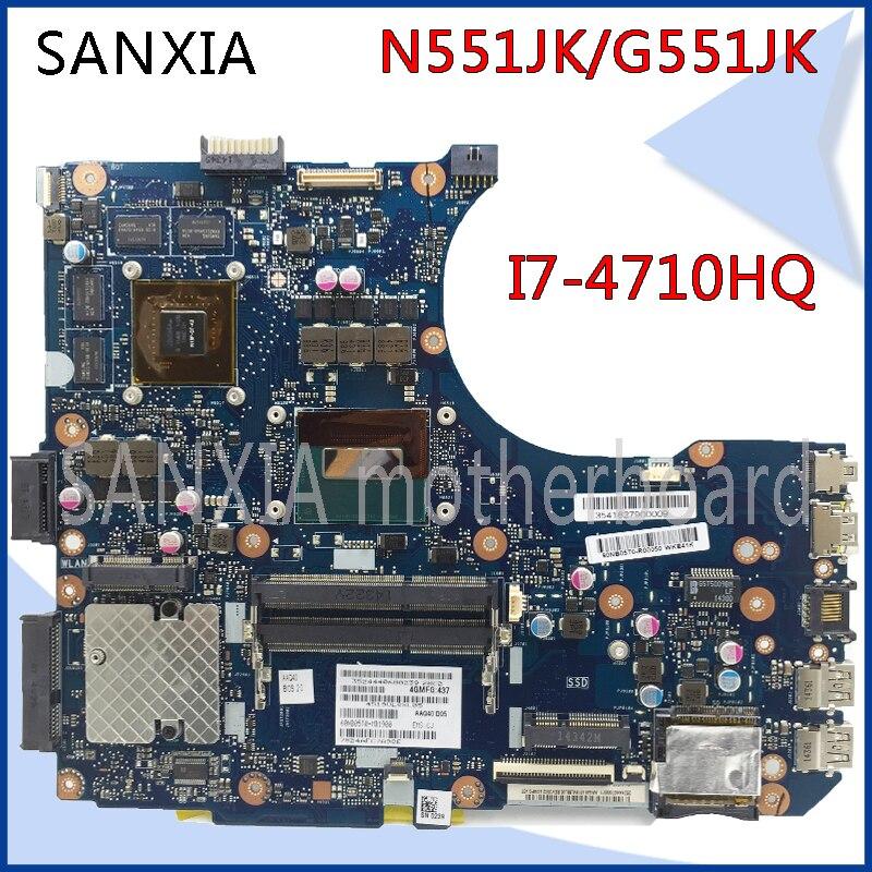 SHELI original N551JK laptop motherboard for ASUS N551JK G551JK motherboard I7-4710HQ GT850 tested in stock mainboard