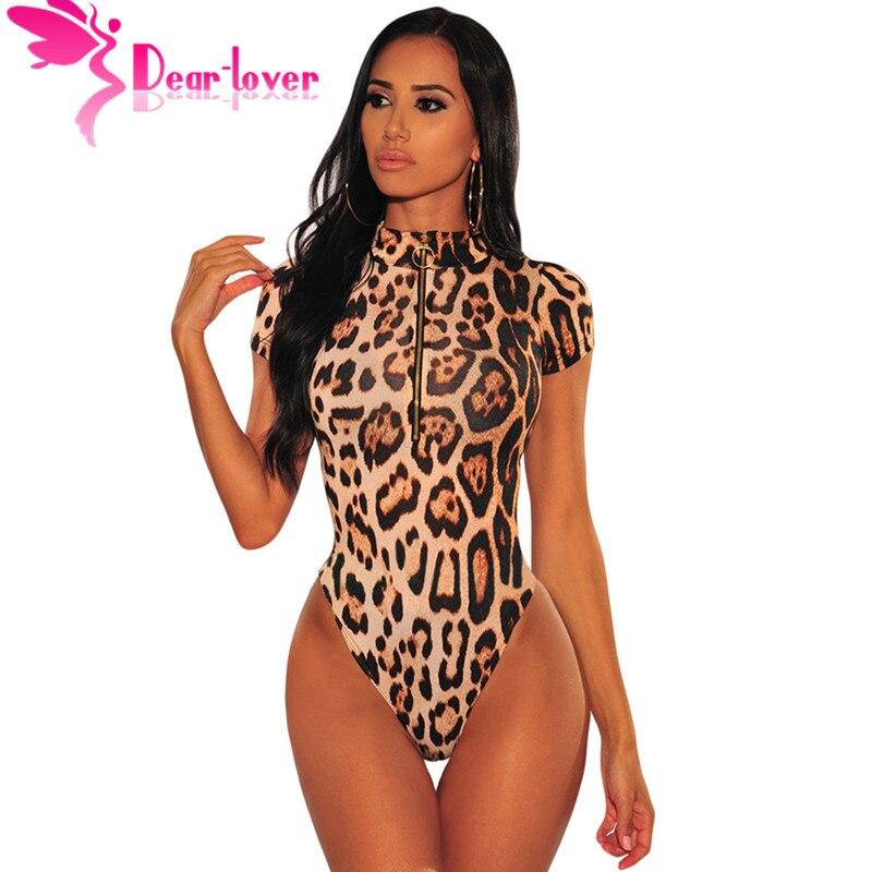Dear Lover Leopard Bodysuit Women Sexy Bodycon Skinny Body Suit Turtleneck Short Sleeve Playsuit Printed Romper   Jumpsuits   C32415