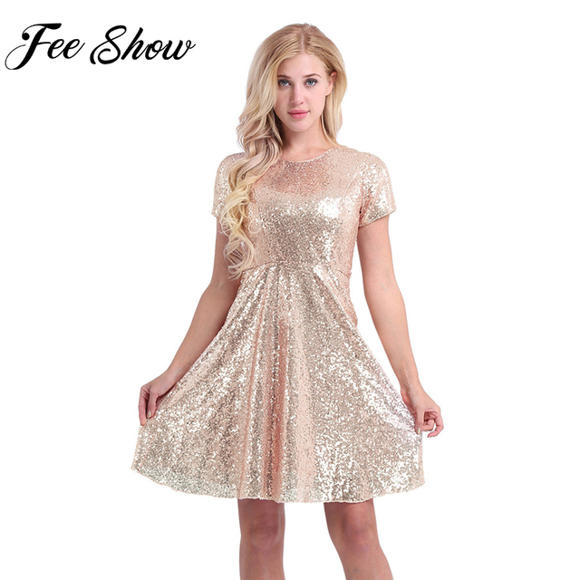 8e59d1beeccc0 US $34.15  Feeshow Brand New Women Ladies O Neck A line Short Sleeve Shiny  Sequins Office Club Party Dresses Formal Dress for Perfect Gifts-in Dresses  ...
