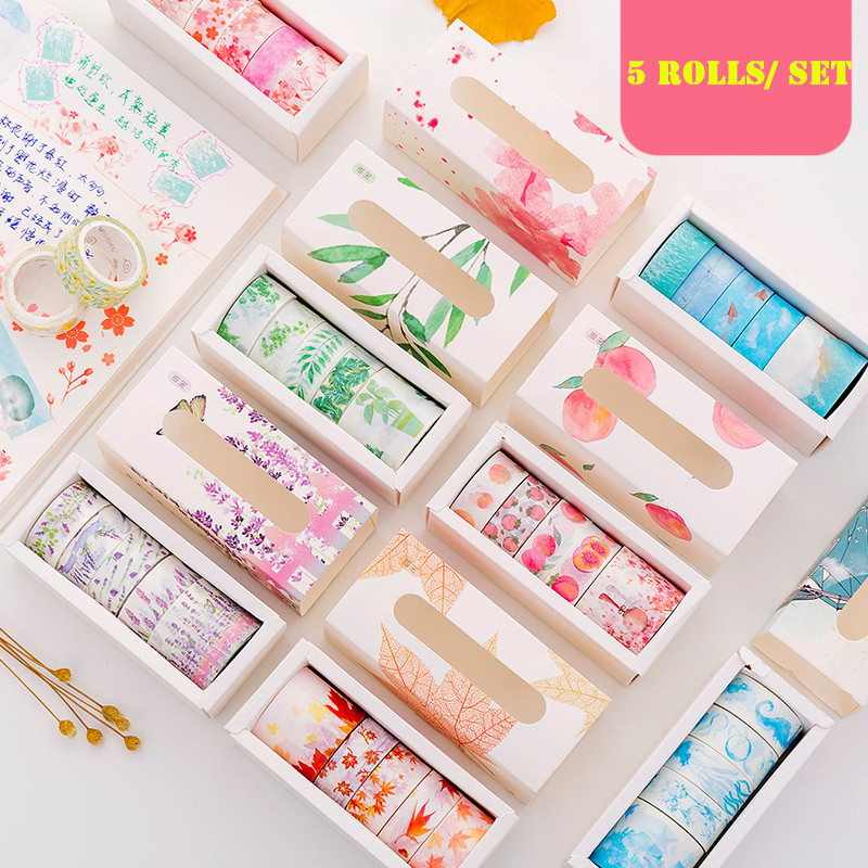 5 Rolls/pack Washi Tape Set Lavender Sakura Theme Adhesive Masking Tape Diy Decoration Sticker For Scrapbooking Planner
