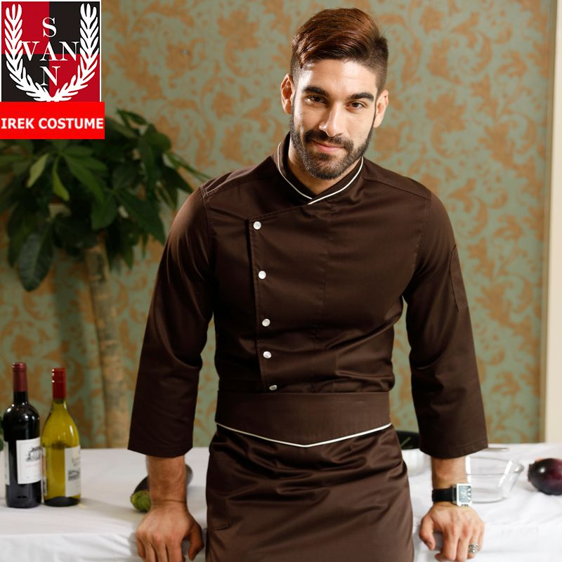 New Unisex Bakery Cook Uniform Long Sleeve Restaurant Chef Uniforms Work Wear Single Breasted Hotel Cook Clothes VSCK01