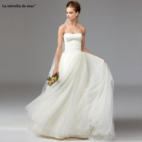 Simple bohemian wedding dress 2020 new tulle satin strapless A Line ivory bride crown plus size robe femme enceinte send veil