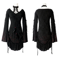 DEVIL FASHION Gothic Style Ladies Lace And Knitting Long T Shirt Steampunk Contrast Color Long Sleeve
