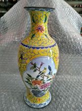 The ancient Chinese colored enamel () copper flower vase
