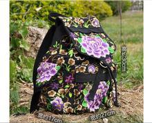 2016 Новый Вышивка рюкзак Цветочный узор, вышитый дважды сумка! Горячая Vintage личность Школьный Путешествия Рюкзак