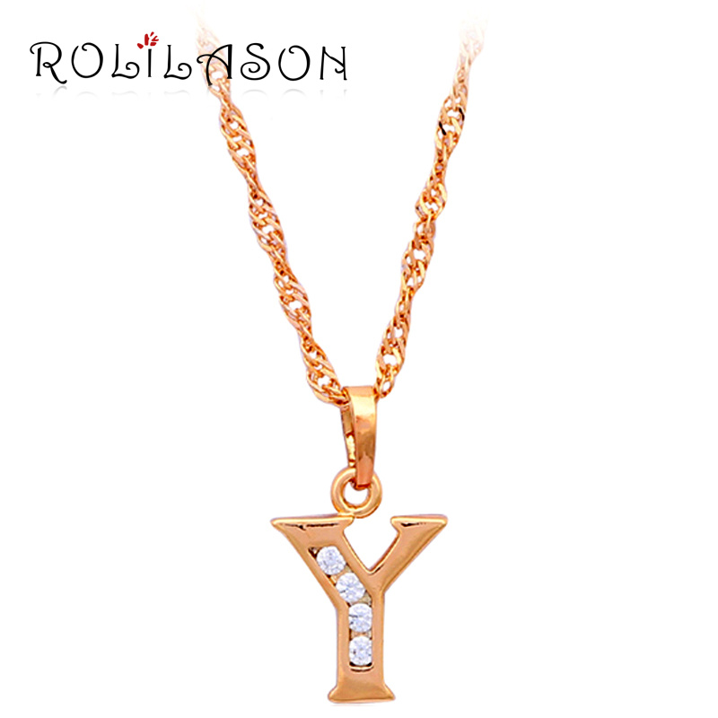 Free shipping Letter Y Letter 26 Design k Yellow gold tone crystal necklaces & pendants fashion