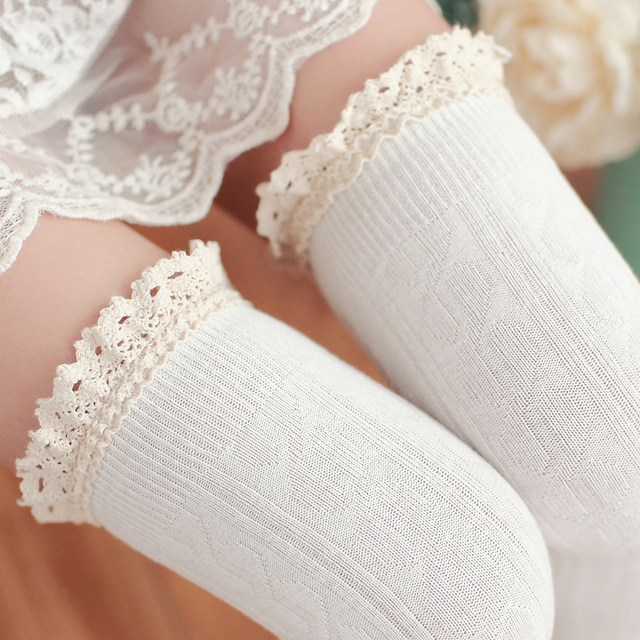 1Pair Women's Socks Sexy Lace Warm Stocking Winter Thigh Hign Socks Knee High Socks Long Stockings Compression Sexy Stockings
