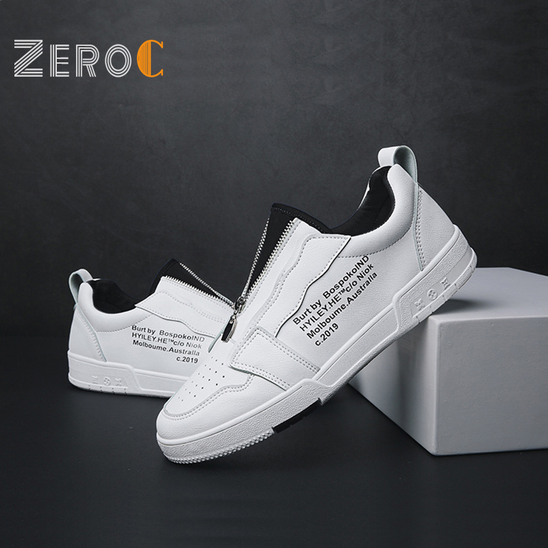 2019 New Design Unique ZIP Skateboard Shoes Men White Leather Man Shoe Blue Black Red Sneakers Board Player Low-top Trainers2019 New Design Unique ZIP Skateboard Shoes Men White Leather Man Shoe Blue Black Red Sneakers Board Player Low-top Trainers