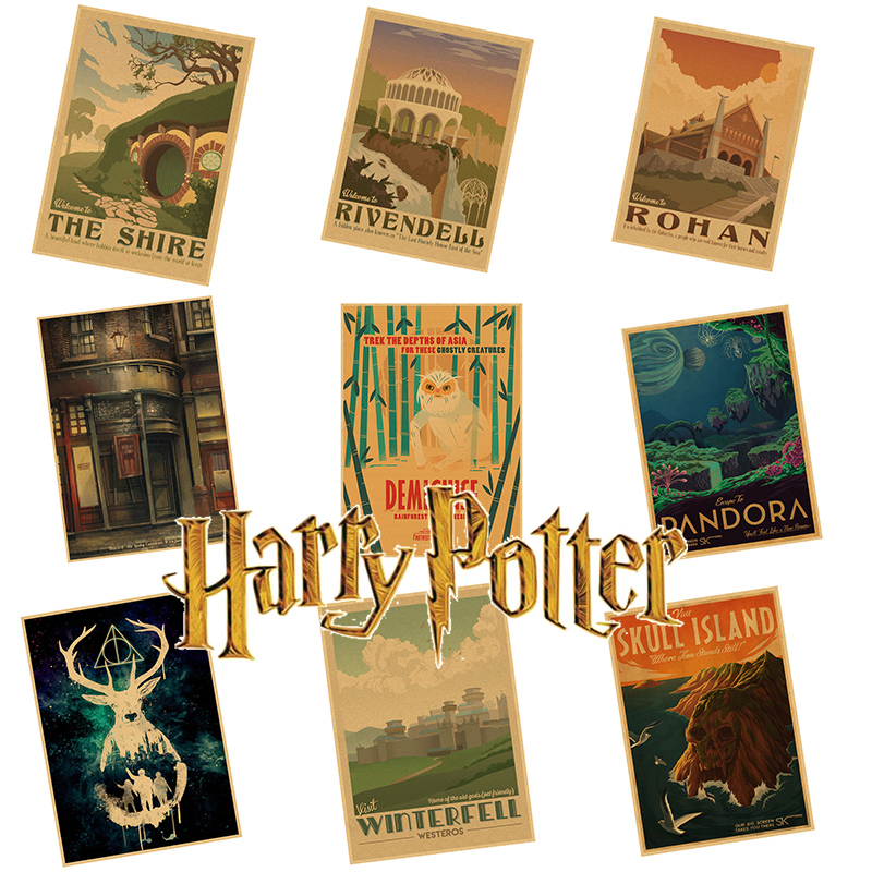 New Harry Potter movies poster series Magic world Home home Furnishing decoration Kraft Poster Drawing core Wall stickers