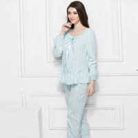 2017 New Women S Pajamas Long Pants Set Summer Princess Pajamas Suit White Sleepwear Cotton Nightshirt