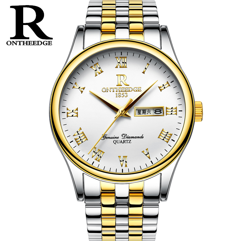 Mens Watches Top Brand Luxury RONTHEEDGE Fashion Quartz Watch Men Waterproof Full Steel Gold Wristwatches relogio masculino woonun top famous brand luxury gold watch men waterproof shockproof full steel diamond quartz watches for men relogio masculino