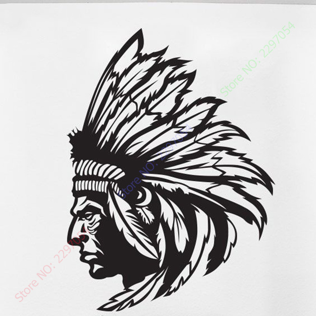 Redskin native american indian chief wall decal sticker decor wall art vinyl home decor wall stickers