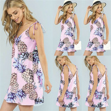 купить Women Strappy V-neck Boho Floral Mini Dress Ladies Loose Holiday Beach Party Pineapple Sundress по цене 330.22 рублей