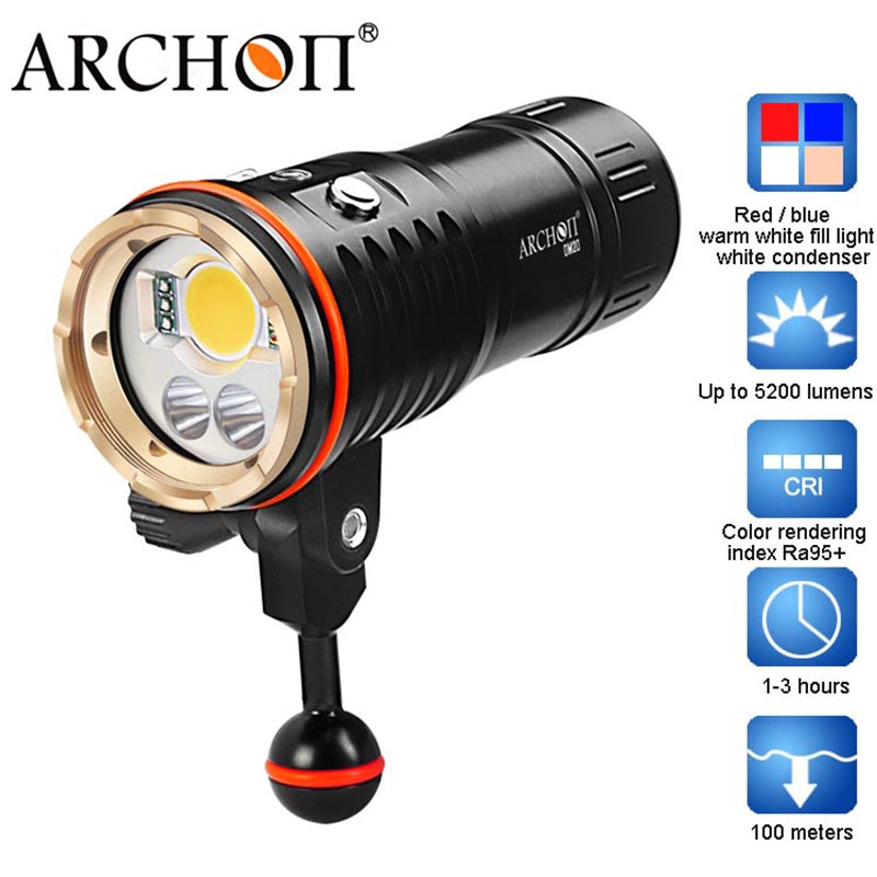 ARCHON DM20 WM26 Aluminum Waterproof XML2 U2 5200 LM 4 Color Light Tint Diving LED Flashlight Torch Battery sitemap 20 xml