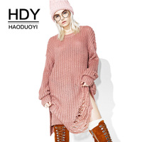 HDY Haoduoyi Women Long Pink Sweaters Irregular Tassel Full Sleeve Hollow Out Casual Pullovers 2017 Autumn