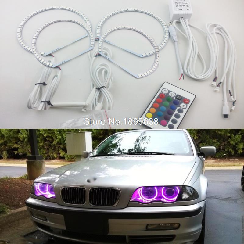 4 pcs Super lumineux 7 couleur RVB LED Ange Yeux Kit avec une télécommande Pour BMW E36 318 320 323 325 1992-1998