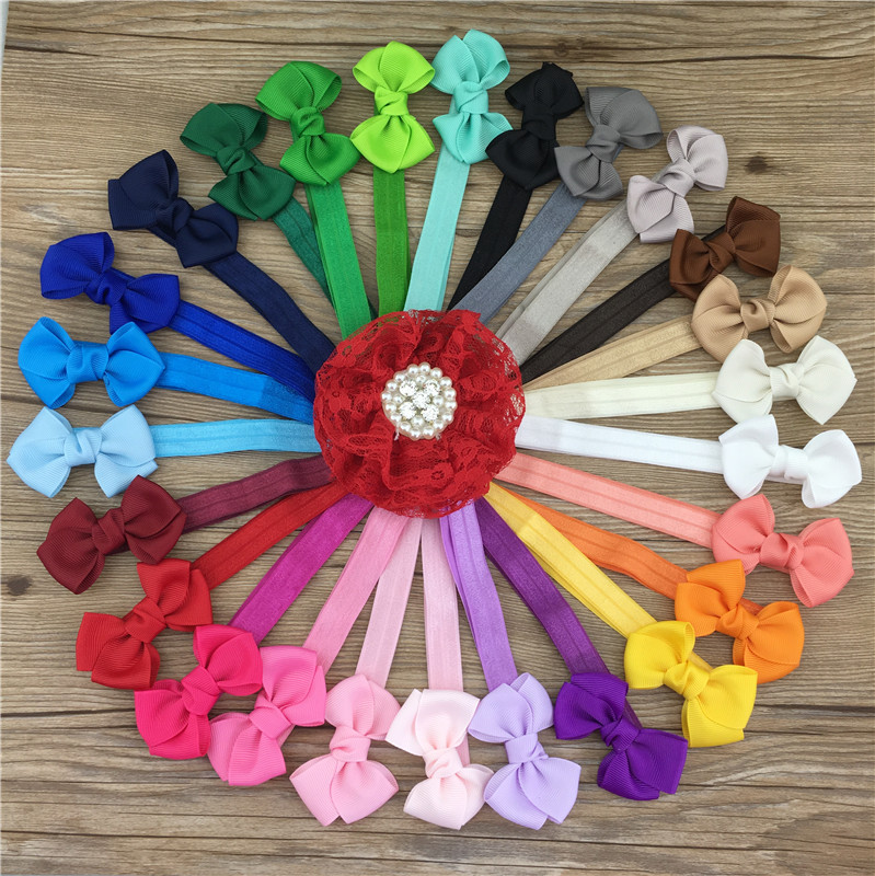 XIMA 2.5inch Hair Ribbon Bow with Headbands Cute Boutique Ribbon Bows for Kids Hair Accessories 26pcs/lot