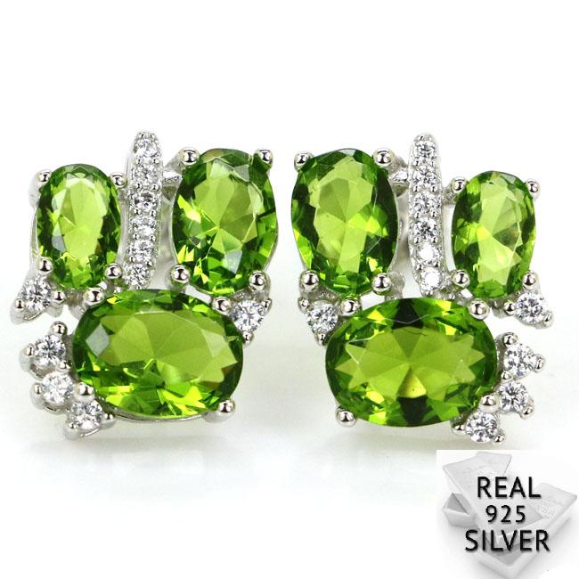 3 3g Real 925 Solid Sterling Silver Luxury Green Peridot Woman 39 s Engagement Stud Earrings 14x12mm in Stud Earrings from Jewelry amp Accessories