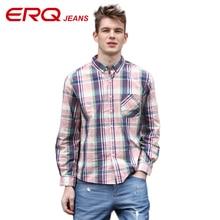 ERQ 2017 Casual Men Shirt Long Sleeve Business Slim Fit Plaid Shirt Male High Quality Houndstooth Check Men's Dress Shirts 58013