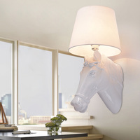 European Style 7W LED Wall Fixture Light E27 Bulb Lamp Horse Shape POY resin knited mesh lampshade Living Room Warm White