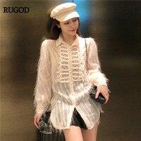 RUGOD Vintage Fashion Women Shirts Long Sleeve Solid Tassel Women Blouse 2018 Winter New Women Tops free camisa feminina