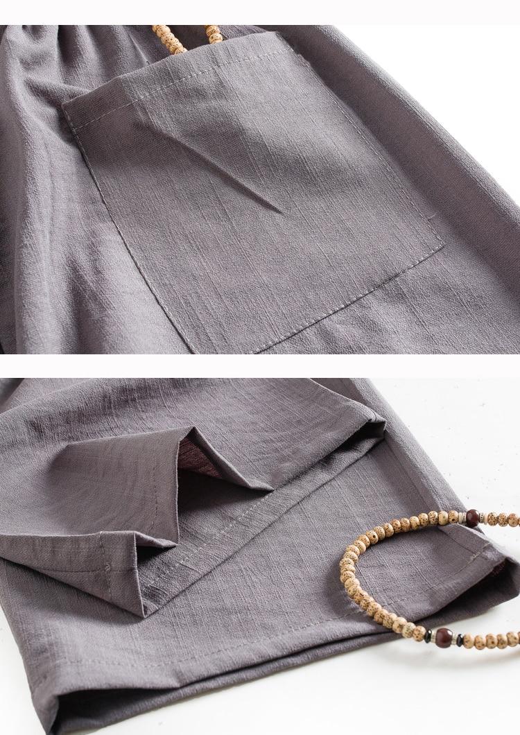 WAEOLSA Men Ethnical Shirt And Pant Suits Black Dark Gray Twinset Man Linen Tang Tunic and Trouser Set Male Oriental 2PCS Pant Suits Set Summer (1)